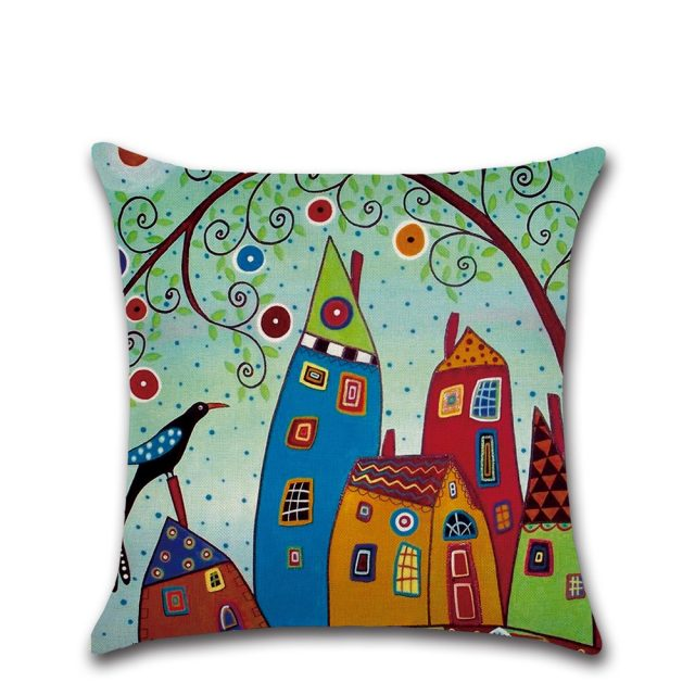Rural Retro Patterned Pillow Case