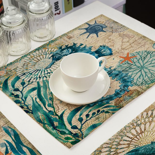 Marine Style Cotton Kitchen Table Mats Sets