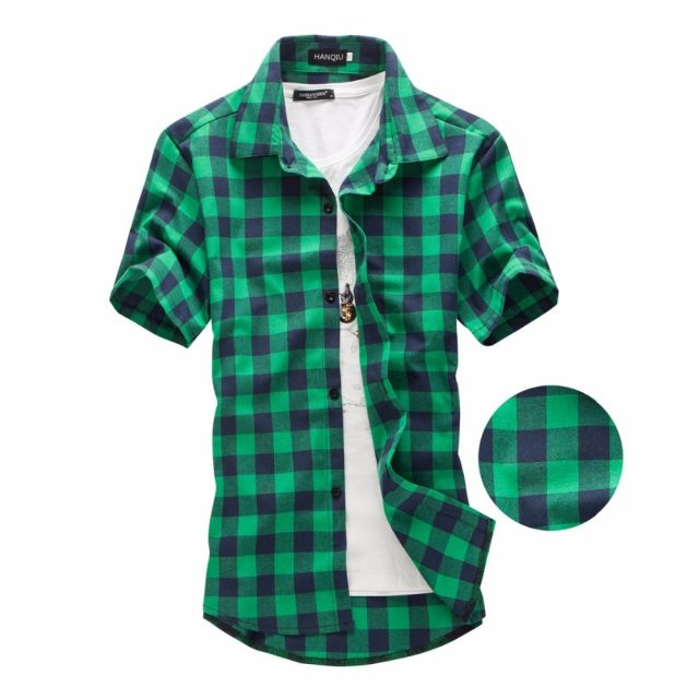 Summer Short-Sleeved Plaid Cotton Men's Shirt