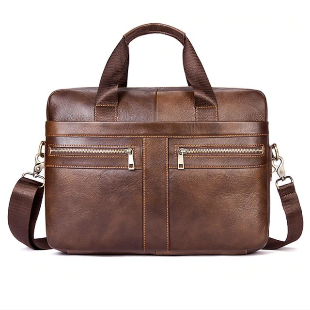 Men's Genuine Leather Casual Briefcase
