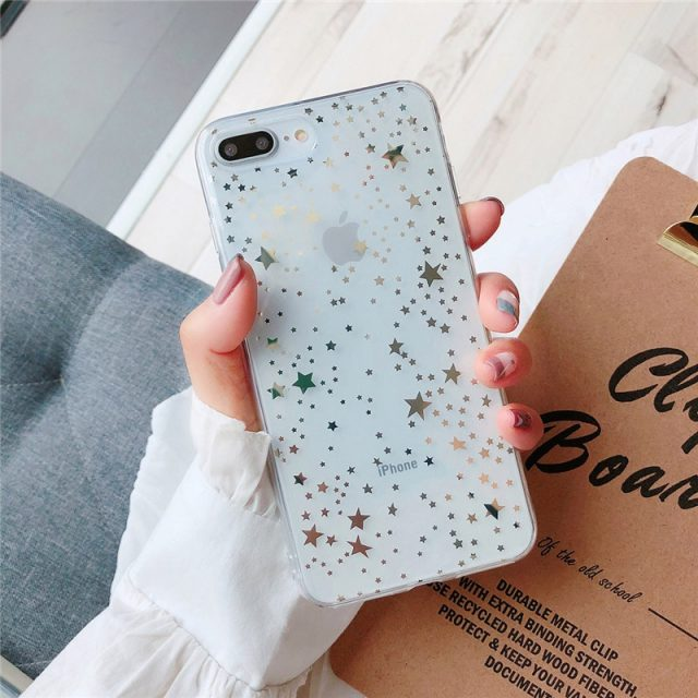 Gold Roud/Star Patterned Clear iPhone Case