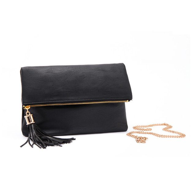 Fashion Convenient Tasseled Women's Clutch Bag with Chain