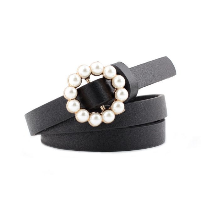 Women's Round Shaped Buckle Belt with Pearls