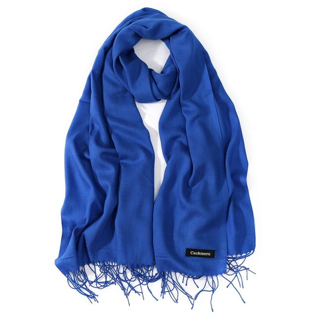 Women's Solid Color Tassel Scarf