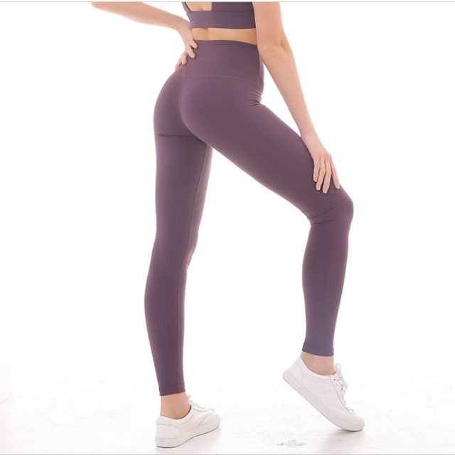 High Elastic Solid Women's Nylon Sports Leggings
