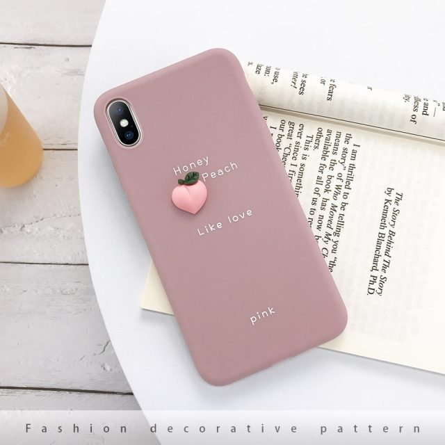 Silicone Matte 3D Fruit Decorated Phone Case