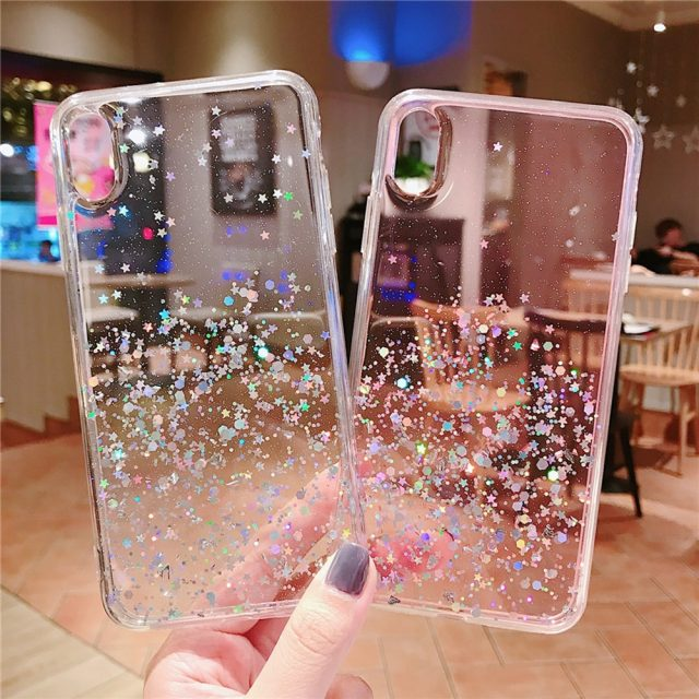 Transparent Glitter Sequins Case for iPhone