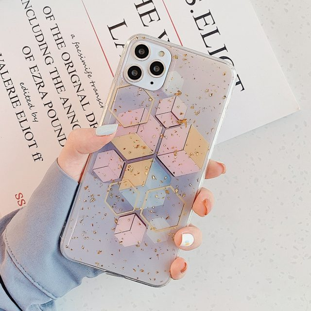 Gold Foil Geometric Patterned Phone Case for iPhone
