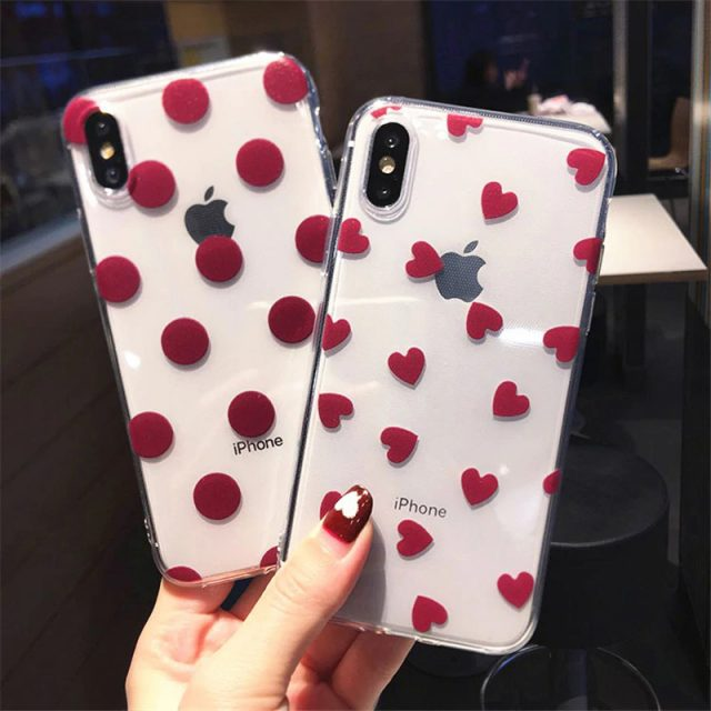 Dot/Heart Patterned Transparent Case for iPhone