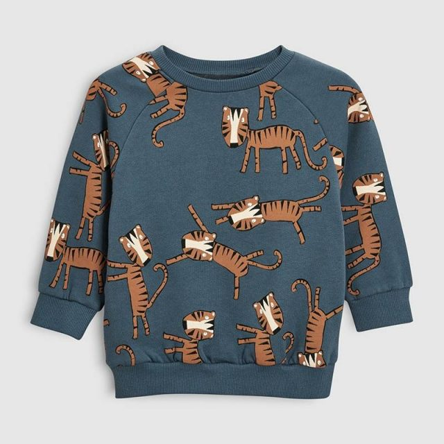 Cotton Sweatshirt for Boys with Tiger Print