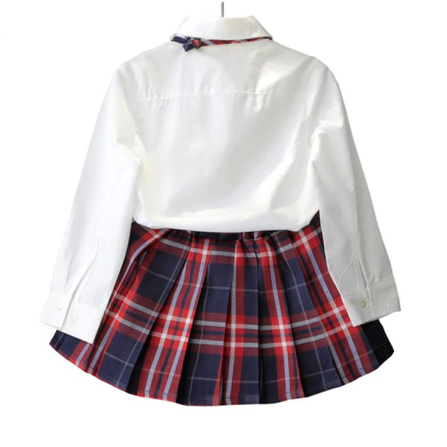 Girl's School Style Cotton Clothing Set