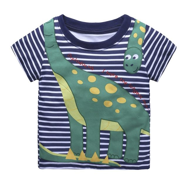 Summer Baby Cotton O-Neck T-Shirt with Cartoon Print