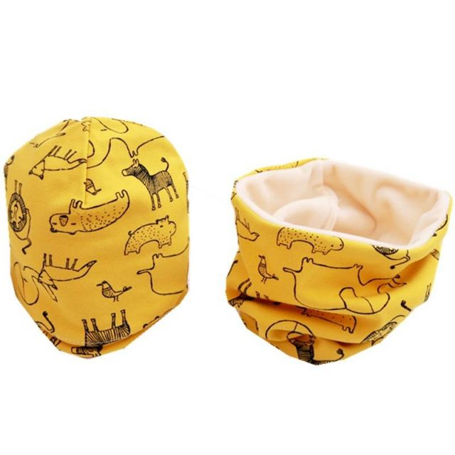 Cartoon Printed Baby's Cotton Hat and Scraf Set