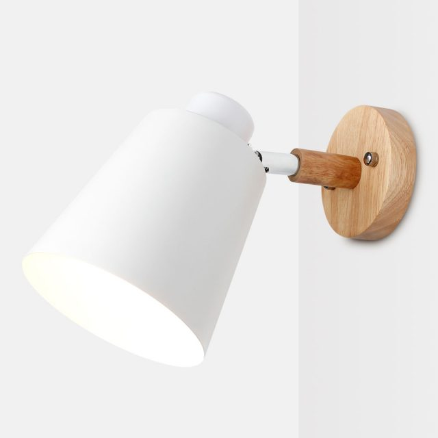 Bright Metal Lamp with Wooden Base