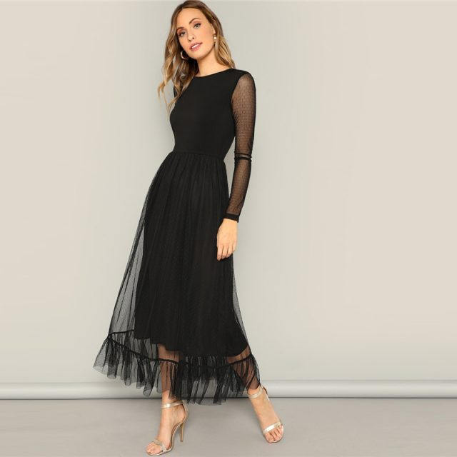 Women's Fit and Flare Black Mesh Dress