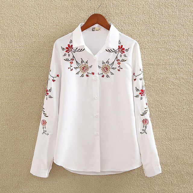 Fashion Summer Flower Embroidery Cotton Women's Shirt