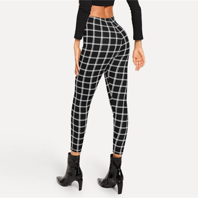 Women's Black Plaid Leggings