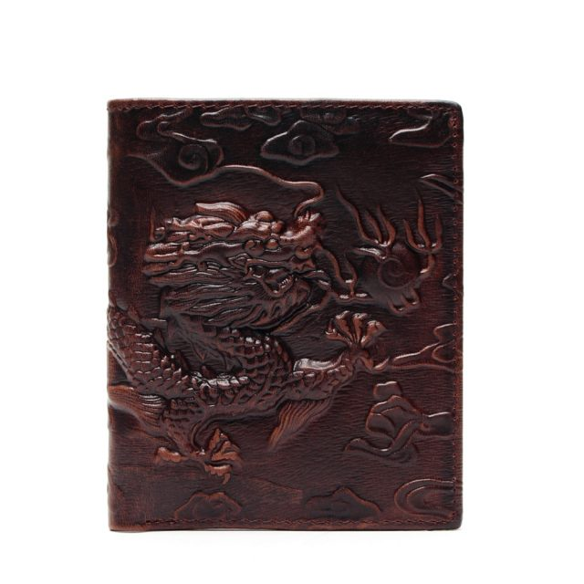 Chinese Dragon Patterned Genuine Leather Men's Wallet