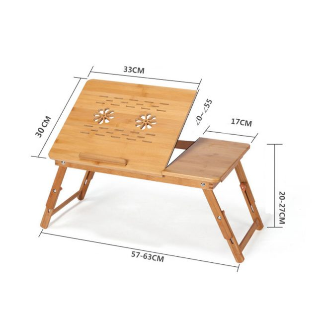 Portable Bamboo Laptop Table with Fan