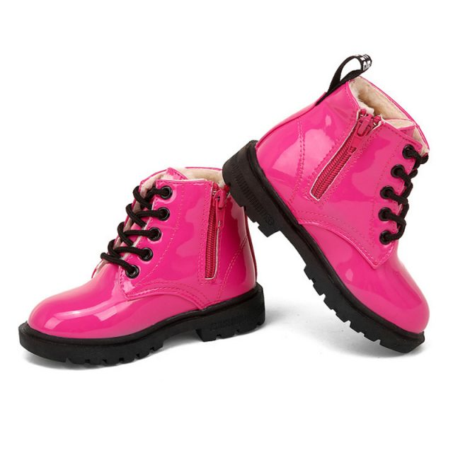 Warm Waterproof Leather Boots for Girls