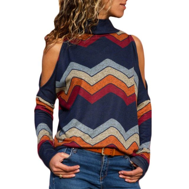 Women's Geometrical Printed Cold Shoulder Pullover