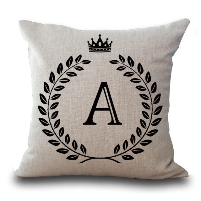 Cotton Crown Letter Design Cushion Cover
