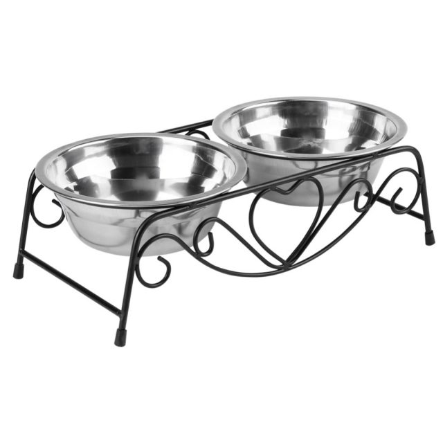 Double Stainless Steel Feeding and Watering Bowls