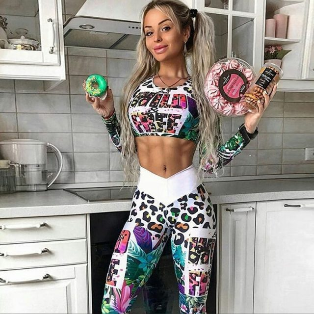 Women's Leopard Print Sports Leggings and Top Set