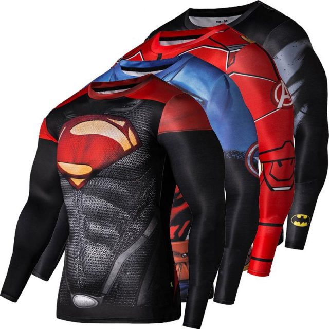 Cute Superhero Themed Sports Compressive Men's T-Shirt