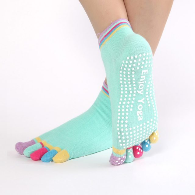 Rainbow Toe Anti-Slip Grip Women's Yoga Socks