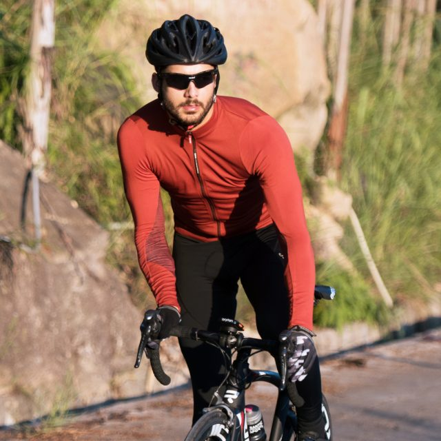 Men's Solid Color Long Sleeve Cycling Jersey