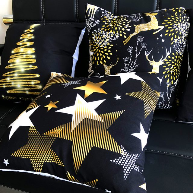 Golden Christmas Embroidered Cushion Cover