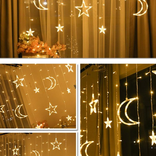 Moon and Stars Shaped LED Hanging Christmas Deocrations