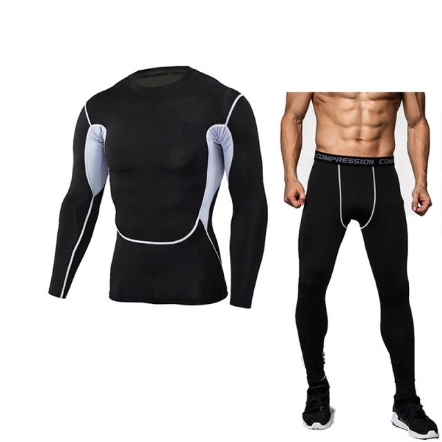 Men's Bodybuilding Compression Tights & Shirt With Long Sleeves