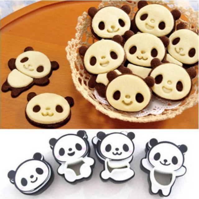 Lovely Panda Shaped Eco-Friendly Plastic Cookie Cutters Set