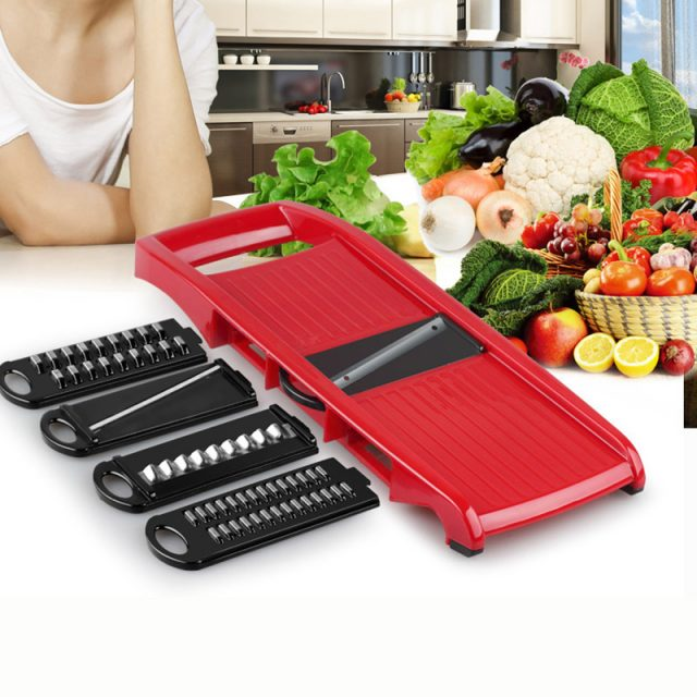 Plastic Vegetable Graters with Adjustable Stainless Steel Blades