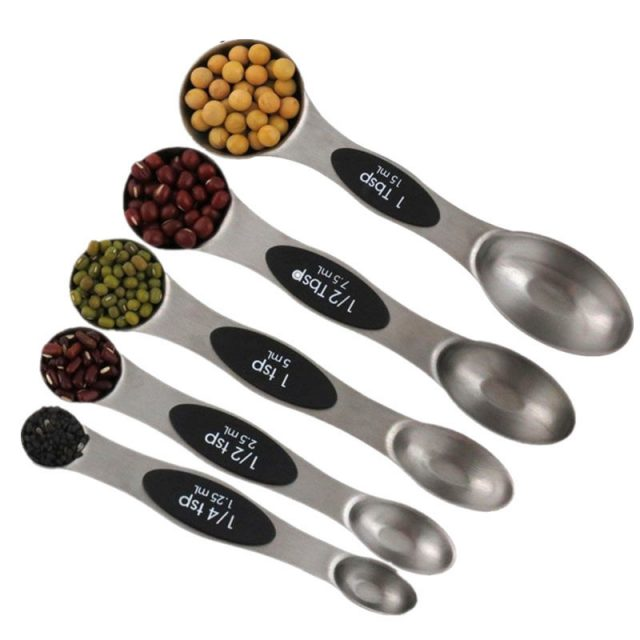 Magnetic Double Stainless Steel Measuring Spoons 5 pcs Set