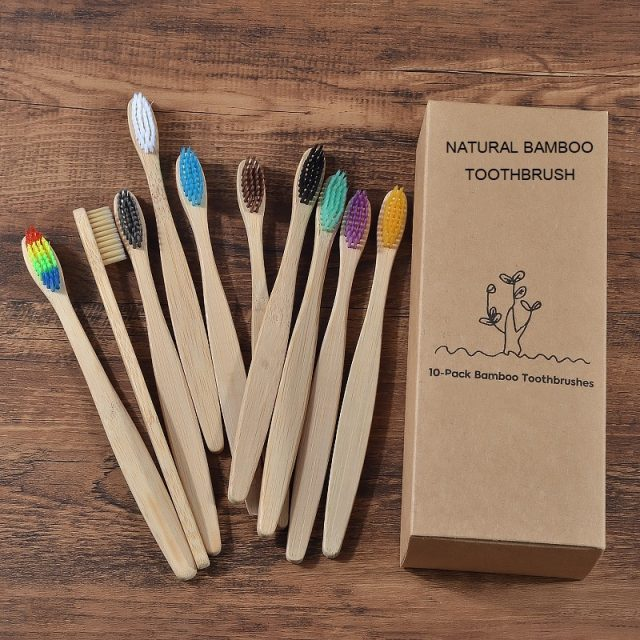 Colorful Bristle Bamboo Toothbrushes 10 Pcs Set