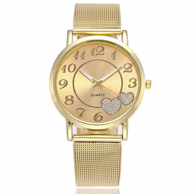 Women's Mesh Hearts Decorated Watch