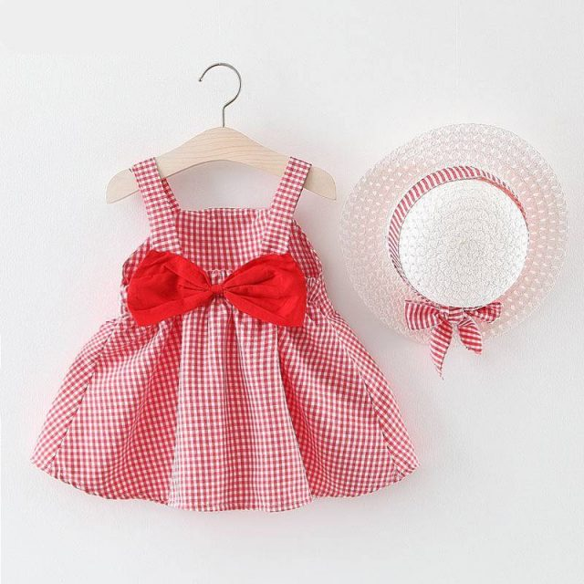 Baby Girl's Summer Patterned Dress with Hat