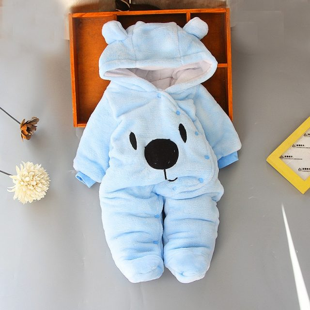 Baby Kid's Soft Warm Cotton Hooded Rompers