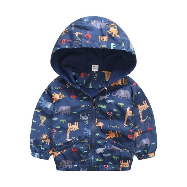 Hooded Animal Patterned Autumn Coat