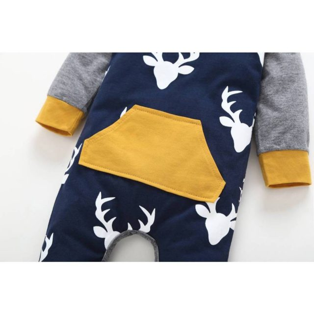 Baby's Deer Patterned Cotton Romper