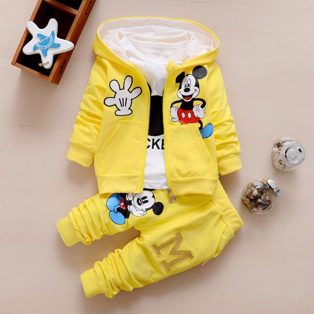 Baby Boy's Cute Mickey Mouse Printed Cotton Clothing Set