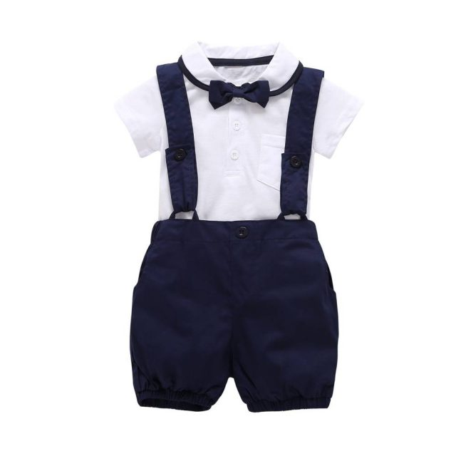 Baby Boy's Turn-down Collar T-Shirt with Overalls Set