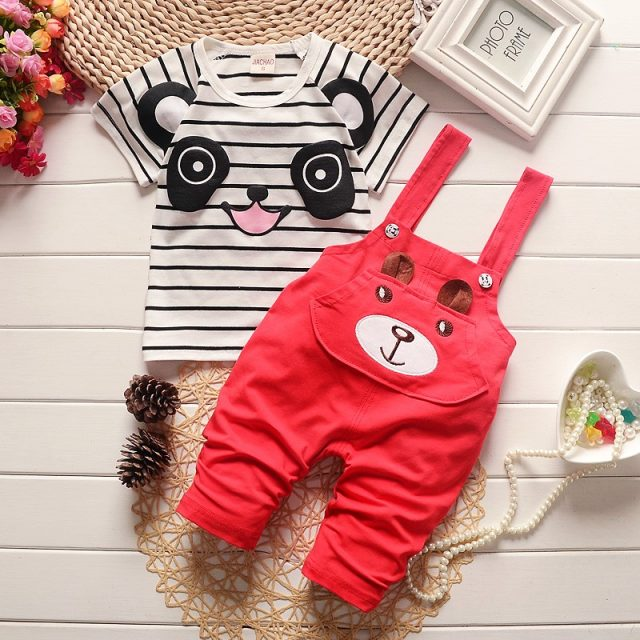 Baby Boy's Striped Cotton T-Shirt and Pants with Cute Panda Pattern