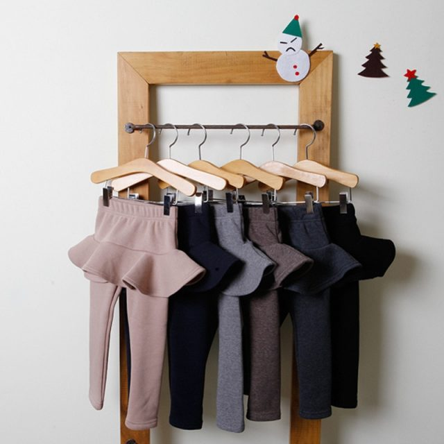 Girl's Plain Cotton Pants with Skirt