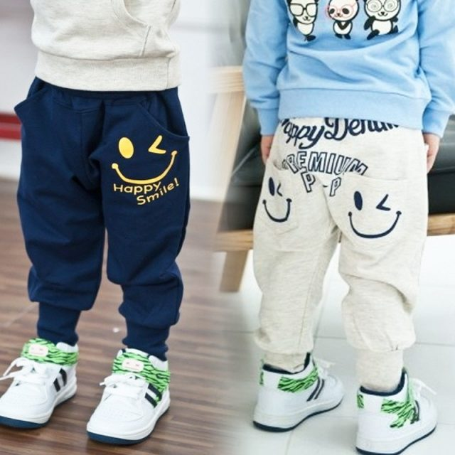 Blue / Gray Cotton Sports Pants for Boys