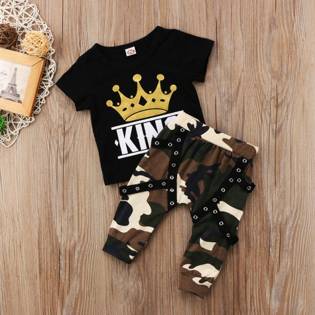 Printed T-Shirt and Camouflage Pants