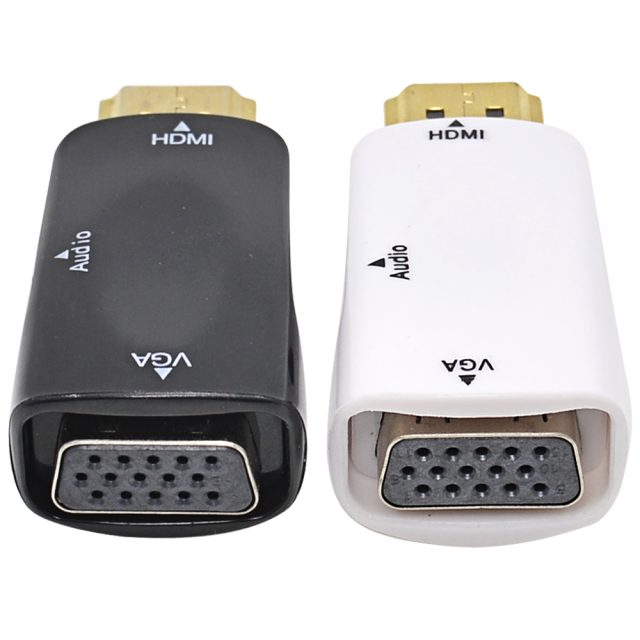 HDMI to VGA Adapter with Audio Cable Support